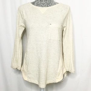 Anthropologie Oatmeal Coral Shirt Little Yellow